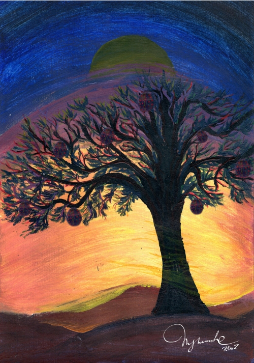 Lonely tree in sunset - for book cover
