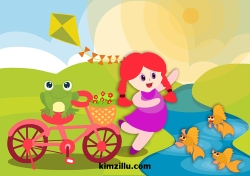 girl with frog and bike