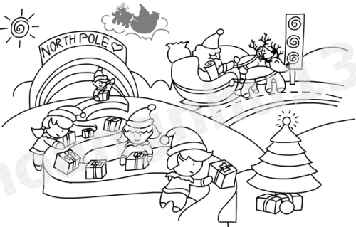 Santa in the North Pole coloring page – KimZ